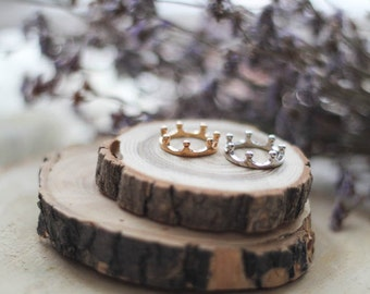 Crown Ring, Two Colors, King & Queen, Shiny Elegant Ring, Anniversary Ring, Engagement Ring, Valentine's Gift, Mother's Day Gift