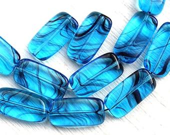Aqua blue beads Rectangular czech glass beads Blue stripes rectangle beads - 18x10mm - 10Pc - 2913