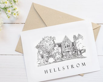 Custom Note Cards With a Sketch of Your Home & Personalized! Available as Watercolor, Sketch, Monogram, Other