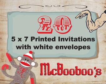 "20 high quality 110lb weight 5"" x 7"" invitations with standard white envelopes."