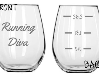 Running Diva Glass  FREE Personalization
