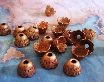 4 PC  Brass Victorian Bell Flower Bead Cap / Jewelry Finding 6-8mm Beads - C0058