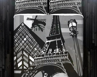 Gray Paris Eiffel Tower Bedding Duvet Cover Queen Comforter King Twin XL Size Blanket Sheet Set Baby Crib Toddler Daybed Kids Bed
