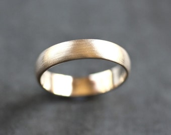 Men's Gold Wedding Band, Recycled 14k Yellow Gold 5mm Wide Brushed Low Dome Man's Gold Wedding Ring - Made in Your Size