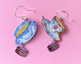 Teacup and macaron recycled tin earrings