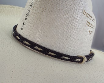 Horsehair hat band, Elegant, Cowboy horsehair hat band, No tassels, BOLD black-white, horsehair, Cowboy hat band, Western hat band, rodeo