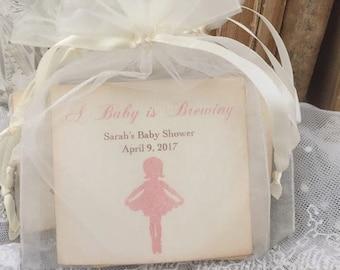 Pink Ballerina Favors Baby Shower Tea Bag Favors Baby is Brewing Set of 10