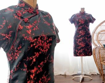 Vintage Chinese satin black red short sleeve cocktail Cheongsam wiggle dress oriental Asian sakura blossoms