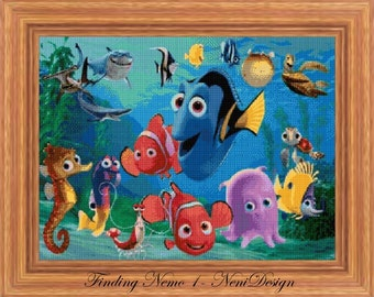 Finding Nemo 1, cross stitch pattern, Finding Nemo cross stitch, Nemo pattern, Nemo cross stitch, disney, PDF pattern - instant download!