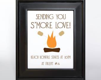 Printable Cabin Outdoor Camping Wedding Sign Customize text, font, color, size DIY bridal, special event, bar mitvah DIY