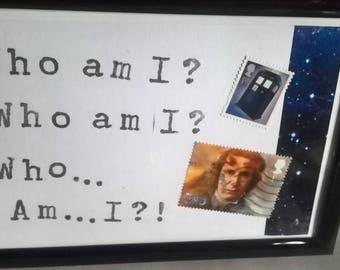 PunkCat Framed Postcard Art Who am I?  Eighth Doctor Stamp