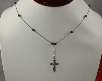 SALE Cross Necklace Purple Crystal Cross