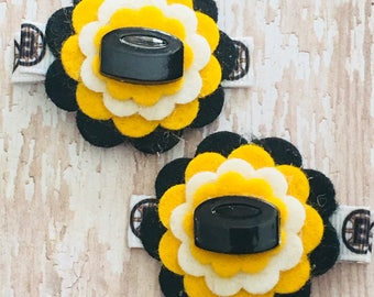 Boston Hockey Inspired Black, Yellow Gold, White Wool Felt Flower Hair Clips Babies Toddlers Girls