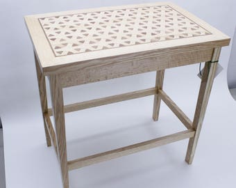Custom Oak End Table or Side Table  with Oak/Walnut Inlay in Fetching Interlocking / Overlapping Circles Design