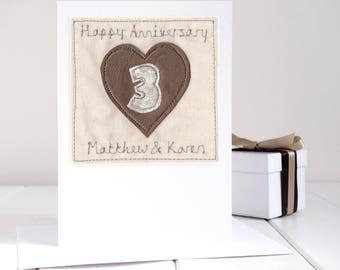 Leather Anniversary Card - Personalised 3rd Anniversary Card - Leather Wedding Anniversary - Third Anniversary Card - 3rd Wedding Card
