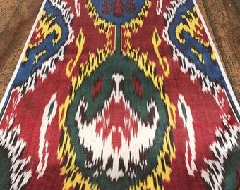 Silk Ikat Fabric,Handmade,Uzbek Silk,Silk Fabric,Uzbek Fabric,Bakhmal,Art IkatFabric,Decorative Fabric