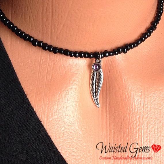 Charmed Choker, black choker, beaded choker, purple choker, feather choker, beaded necklace, summer jewelry, cute choker zmp1975-2