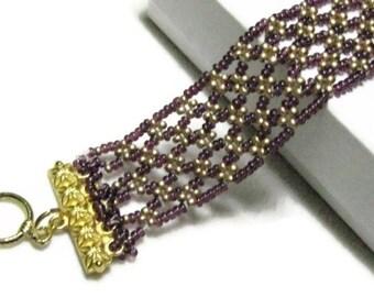 Beadwork Cuff Bracelet,Brown Bead Bracelet, , Brown Bead Cuff Bracelet
