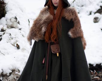 Wool cloak; viking cloak; natural warm wool
