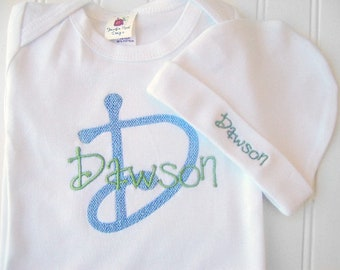Personalized Baby Take Home Outfit for Boys, Monogrammed baby name hat, in blue and green