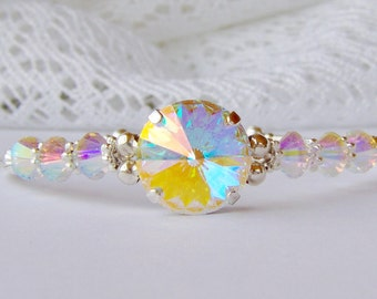 Aurora borealis rhinestone bracelet . Swarovski crystal . Rainbow . Gift for her . Girlfriend gift . AB crystal . Birthday gift . Unique