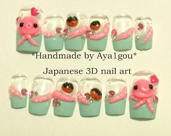 Octopus, takoyaki, squid, tentacle, mint nails, kawaii, deco nail, Japanese 3D nail, Harajuku, novelty, food nail, alternative, pastel,