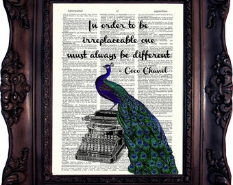 Peacock Vintage Print Coco Chanel In order to be quote Peacock Typewriter Coco Chanel Quote Coco Chanel Print Best friend Gift Birthday 810