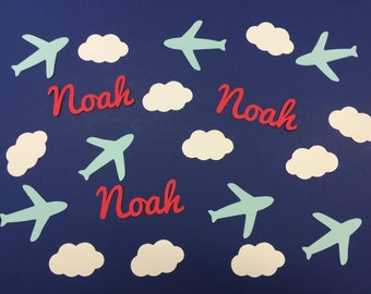 Personalized Confetti - Airplane Jets and Clouds - Baby Shower or Birthday Custom Confetti