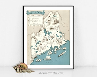 MAINE MAP - Printable Maine Map, Map Wall Decor, Coastal Decor Map, Vintage Maine Map, Instant Download, Map Wall Art,  Maine Picture Map