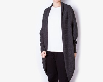 Knit gray cardigan /\ Origami cardigan /\ Mid length knitted vest /\ Loose fit winter top