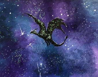 Galaxy dragon 2 original ACEO/ Artists trading card. Mixed media. Free UK delivery.