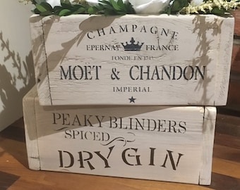 Champagne Moet crate gift box storage bedroom kitchen tidy Mother's Day
