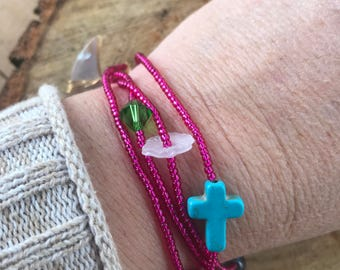 Handmade Layering Bracelet Necklace Neon Pink Glass Seed Beads Wire Wrapped Shell Crescent Moon