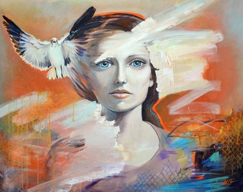 "Original large painting in orange, blue & white. Woman and bird portrait painting, spray paint art app 32x40"" (81x100 cm)"