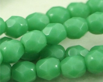 Czech Fire Polished 4mm round-Opaque Green Turquoise-Qty 50 (CZ 4R OGT)
