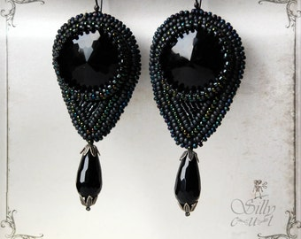 earrings - Black - gothic, beadwoven, antique glass buttons, mourning, victorian