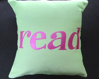 Read Embroidered Pillow Cover