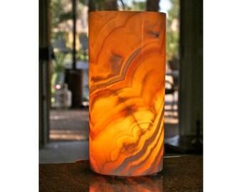 """Alabaster Cylinder Candle. 10"""" x 6""""."""