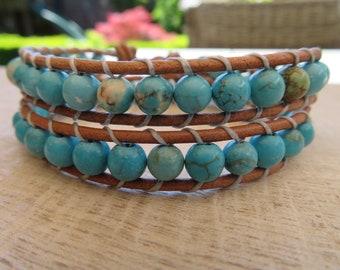 Genuine leather double wrap bracelet with turquoise Howlite-real leather double wraparmband with Howlite