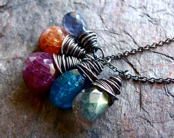 Ruby Apatite Labradorite Sunstone Iolite Sterling Silver Necklace