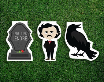 Magnetic Bookmark Set | Edgar Allan Poe Magnet Cute Book Bookmarks Pack of 3, Magnetic, Cute, Quirky, Kawaii, Raven, Gravestone, Lenore Goth