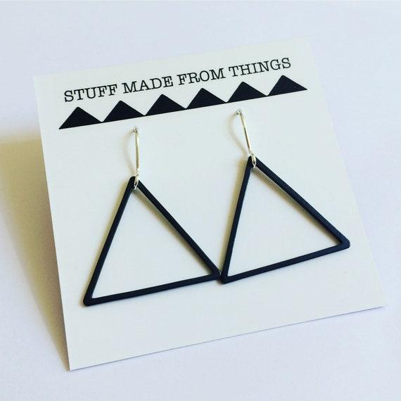Black Triangle Earrings - Silver - Hoops - Geometric - Modern - Minimalist - Minimal - Drop -