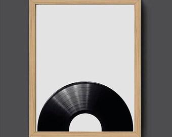 Vinyl Poster | Studio Wall Art, Vinyl Art, Music Wall Art, Black and White, Retro Poster, Large Wall Art, Vinyl Print, Retro Print