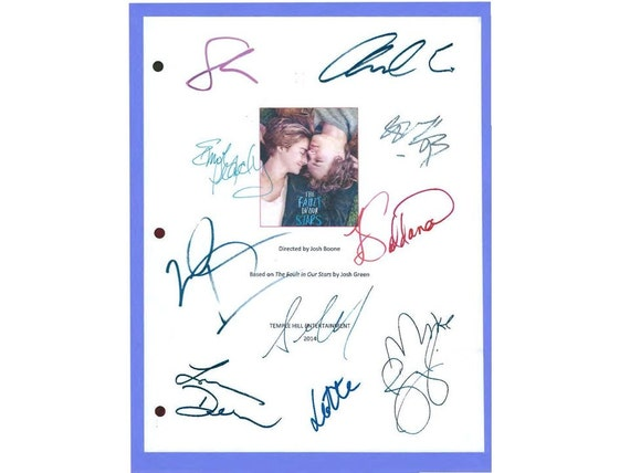 The fault in our stars movie script autographed shailene for The fault in our stars coloring pages
