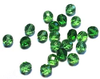 21 Green Beads, Green Glass Beads, Czech Green Glass Beads, Bright Green Glass, Round Faceted Glass Beads, Bright Green Czech Glass Beads