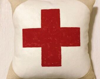 18x18 Wool and Grainsack Pillow - Swiss Cross
