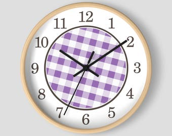 Purple Gingham Wall Clock - Pattern in Purple and White with Wood Frame - 10-inch Round Clock - Made to Order