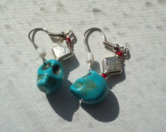 Turquoise Color Skull Earrings on Silver Wires for Pierced Ears by hipknitta