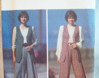Vest and Wide Legged Pants 1990s Butterick Expo Fast & Easy Pattern Sizes 6-12 Uncut Factory Fold