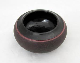 """Joyce Furney Purple Small Pottery Bowl Vase - 2.5"""" x 5"""" - signed 1986"""